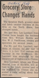 Newspaper article on change of ownership, Nelson Daily News, October 15 1959 photo credit - Patsy Ormond
