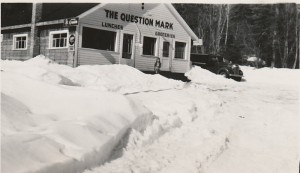 Question Mark Store in the winter of 1949, Marg MacDonald on stairs photo credit -Patsy Ormond